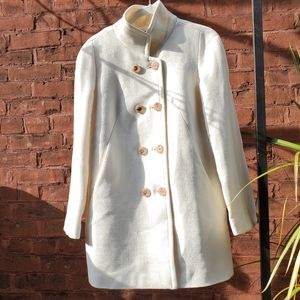 J. Crew Double-Breasted Cream Coat sz 0